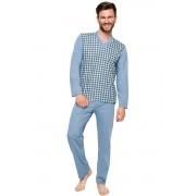 Roman NEW férfi pamut pizsama, világos kék 5XL