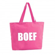 Bellatio Decorations Boef shopper tas fuchsia roze 47 cm
