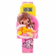 Ceas Skmei 1240 pentru copii model figurina cartoon cu data si calendar complet, roz