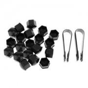 ELECTROPRIME® 20x Wheel Lug Nut Center Cover Caps + Removal Tool for Audi VW Skoda Black
