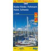 Fietskaart ADFC Regionalkarte Kieler Förde, Fehmarn, Holsteinische Schweiz | BVA