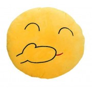 Soft Smiley Emoticon Yellow Round Cushion Pillow Stuffed Plush Toy Doll (Giggle)