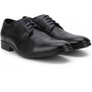 Clarks Banfield Cap Black Leather Lace Up For Men(Black)