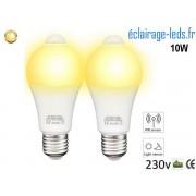 Lot de 2 ampoules LED E27 10 W Capteur de Présence blanc chaud ref dm-24
