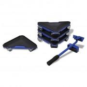 vidaXL Sada na sťahovanie nábytku, zdvižná tyč a 4 podložky na kolieskach