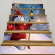 Rosegal Autocollants d'Escalier Imprimé Bonhomme de Neige avec Lumière 6 PCS: 39 * 7 pouces (Pas de cadre)