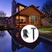 Гирлянд соларни LED лампички, топло бяла светлина, коледна украса