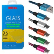 DKM Inc 25D HD Curved Edge Flexible Tempered Glass and Nylon V8 Micro USB Cable for Samsung Galaxy J7 Prime
