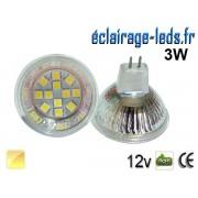 Ampoule LED MR16 12 led smd 5050 blanc chaud 12v 60°