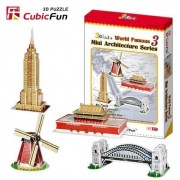 Puzzle 3D Cubic Fun - World Landmarks, 100 piese (Cubic-Fun-C086H)