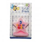 Lumanare stea roz cifra 3 Birthday Girl