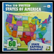 The 50 United States Of America 60 Piece Puzzle State Capitals Included (2009)