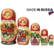 Craftsfromrussia Russian Nesting Doll - Village Scenes Hand Painted In Russia 5 Color/Size Variations Traditional Matryoshka Babushka (6.75``(5 Dolls 1), Scene C)