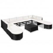 vidaXL Set mobilier de grădină, 32 piese, poliratan, negru și alb crem