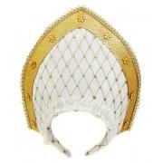 Кокошник 23х30 см, белый+золотой.