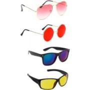 Elligator Aviator, Round, Wayfarer Sunglasses(Pink, Red, Blue, Yellow)