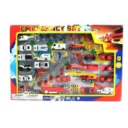 AJ Toys & Games Metro Police Force & Fire Rescue Emergency Crew 44 Piece Mini Toy Diecast Vehicle Play Set, Comes Wi