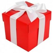 Geen Kado doosjes rood met witte strik 10 cm vierkant
