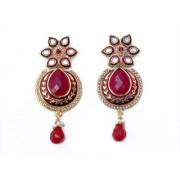 Indian Style Beaded Dangle Drop Fashionable Earrings Traditional Jhumka Jhumki Earrings for Women 09 MAROON