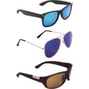 Zyaden Wayfarer, Aviator, Wrap-around Sunglasses(Blue, Blue, Brown)