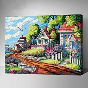 Small Villa: MADE4U Paint By Numbers Kits Canvas Mounted on Wood Frame with Brushes and Paints for Adults Children Seniors Junior DIY Beginner Level Acrylics Painting Kits on Canvas (Small Villa)
