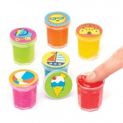 Baker Ross Beach Slime Pots - 6 Pots Ready Made Slime In 6 Colours. Farting Noise Putty. Slime For Party Bags. Size 3cm.