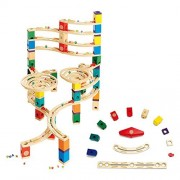 Hape Quadrilla Cyclone Wooden Marble Run Race Maze Building Set + Speedway Pack