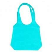 Merkloos Voordelige turquoise opvouwtas draagtas 43 x 41 cm