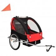 vidaXL 2-в-1 Детско спортно ремарке за велосипеди, черно и червено