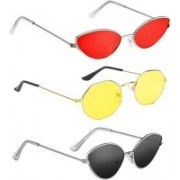SRPM Cat-eye, Retro Square Sunglasses(Red, Yellow, Black)