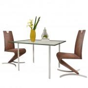 vidaXL Cadeiras jantar cantilever 2 pcs couro artificial castanho
