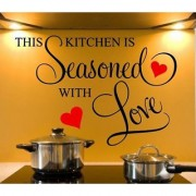 Pvc Quotes Kitchen Seasoned With Love Wall Sticker (30X31 Inch)