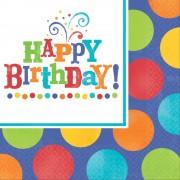 Servetele de masa pentru petrecere happy birthday 33 cm, set 16buc