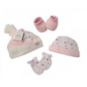 Ensemble bébé bonnet, mitaines et chaussons - Rose