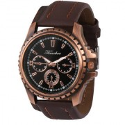 Timebre Black Round Dial Brown Leather Strap Quartz Watch for Men Boys