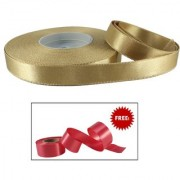 De-Ultimate Golden Satin Ribbon Roll of 18 Mtr for Decorations Gift Wrapping hobby and School Craft With Freebie Ribbon