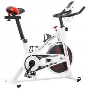 vidaXL fehér és piros spinning szobabicikli pulzusmérővel
