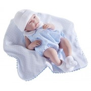 JC Toys La Newborn - Realistic 17 Anatomically Correct REAL BOY Baby Doll - All Vinyl in Blue Bubble Suit and Blanket Designed by Berenguer Boutique - Made in Spain