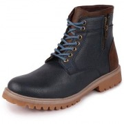 Fausto Men's Ankle PU Zipper Outdoor Blue Boots