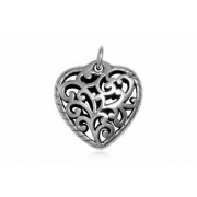 Pandantiv din argint in forma de inima in stil oriental