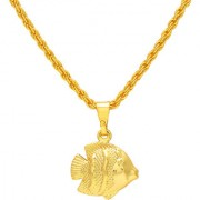 MissMister Gold Plated Fish Chain Pendant Locket Necklace God Pendant Temple Jewellery for Men and Women