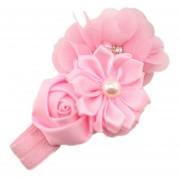 ELENXS del pelo del bebé niña de las flores Banda Perla Headwear para 3-36 Meses elástico magnífico suave práctica recién nacido rosa claro