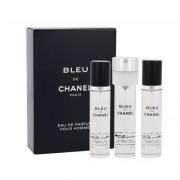 Chanel Bleu de Chanel 3x 20 ml 60 ml parfumovaná voda Náplň pre mužov
