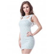 Baby Blue Fully Lined Lace Bodycon Dress