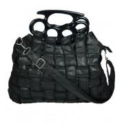 Torebka z zamkami i uchwytem w kształcie kastetu - JADE BAG
