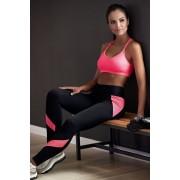 Katy hosszú fitness leggings rózsaszín csíkokkal XL