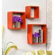 Onlineshoppee Square Nesting MDF Wall Shelf Size(LxBxH-10x4x10) Inch - Orange