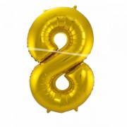 8. szám, fólia lufi, 86 cm, arany