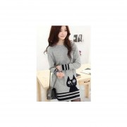 Mujer Cute gato estampas Impreso estilo largo suéter gris claro