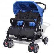 vidaXL Carrinho de bebé para gémeos em aço azul e preto